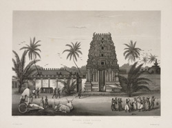 'Entree d'une Pagode a Pondichery'. Aquatint by S. Himely after Paris. Undated